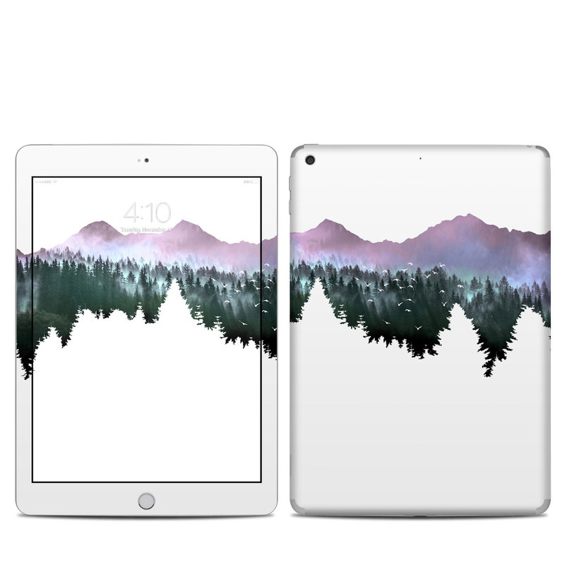 iPad 6th Gen Skin design of Nature, Mountainous landforms, Mountain, Atmospheric phenomenon, Tree, Wilderness, Sky, Mountain range, Forest, Hill with white, black, purple, blue, green colors