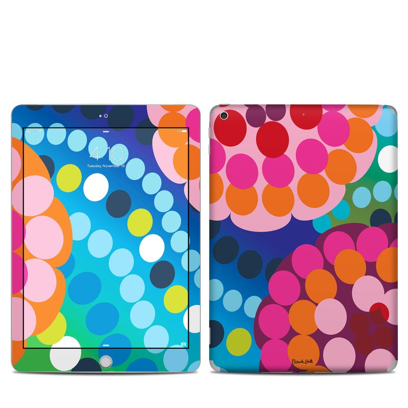 iPad 6th Gen Skin design of Pattern, Circle, Orange, Colorfulness, Design, Line, Polka dot, Graphic design, Graphics, Heart with blue, green, pink, orange, purple colors