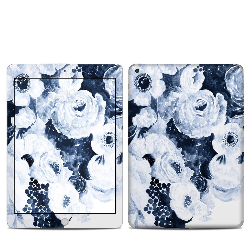 iPad 6th Gen Skin design of White, Flower, Cut flowers, Garden roses, Plant, Bouquet, Rose, Black-and-white, Rose family, Still life with white, blue colors