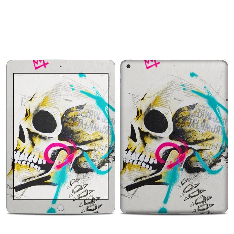 iPad 6th Gen Skin design of Graphic design, Skull, Illustration, Art, Bone, Drawing, Visual arts, Font, Modern art, Street art with blue, pink, yellow, black colors