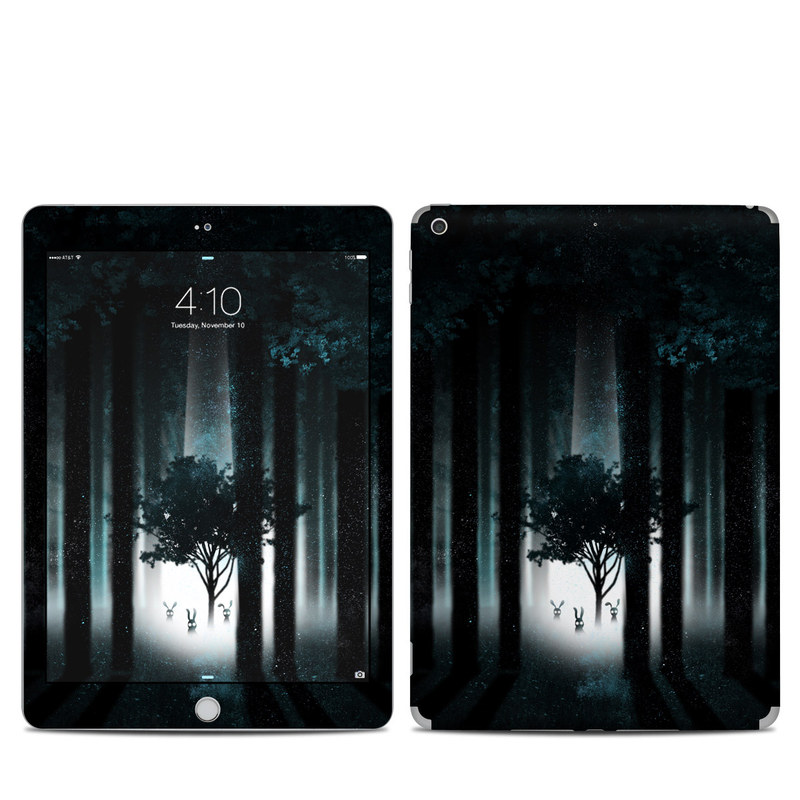 iPad 6th Gen Skin design of Darkness, Black, Nature, Tree, Natural environment, Forest, Atmosphere, Atmospheric phenomenon, Light, Natural landscape with black, blue, white colors