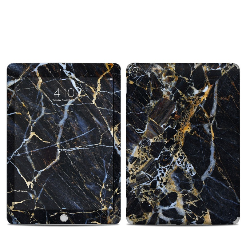 iPad 6th Gen Skin design of Black, Yellow, Rock, Brown, Marble, Water, Close-up, Granite, Pattern, Geology with black, white, orange, gray, yellow colors