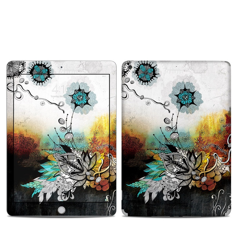 iPad 6th Gen Skin design of Graphic design, Illustration, Art, Design, Visual arts, Floral design, Font, Graphics, Modern art, Painting with black, gray, red, green, blue colors