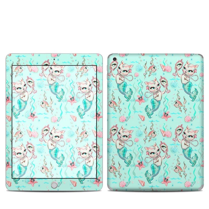 iPad 6th Gen Skin design of Green, Aqua, Pattern, Teal, Turquoise, Pink, Textile, Wrapping paper, Design with blue, pink, white, green colors