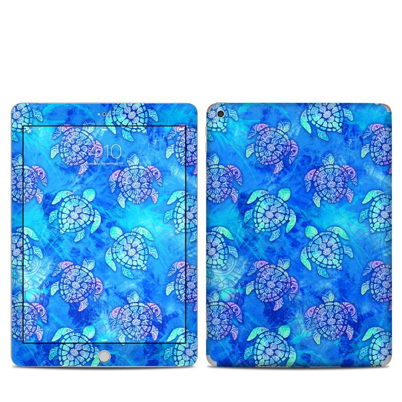 iPad 6th Gen Skin design of Blue, Pattern, Organism, Design, Sea turtle, Plant, Electric blue, Hydrangea, Flower, Symmetry with blue, green, purple colors