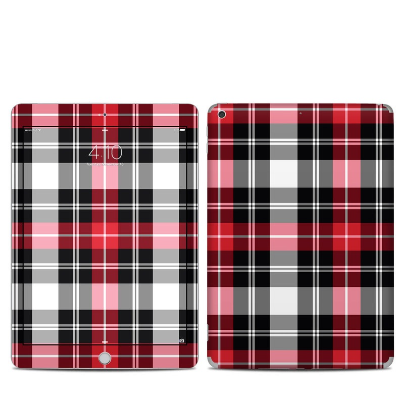 iPad 6th Gen Skin design of Plaid, Tartan, Pattern, Red, Textile, Design, Line, Pink, Magenta, Square with black, gray, pink, red, white colors