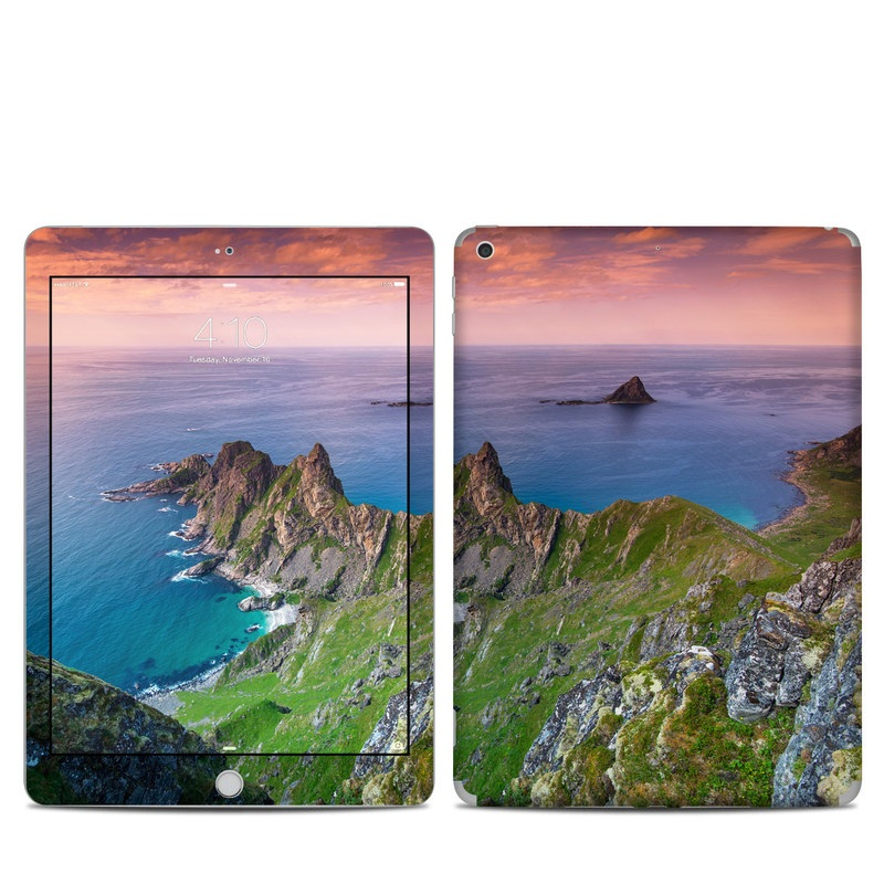 iPad 6th Gen Skin design of Body of water, Nature, Sky, Coast, Sea, Headland, Natural landscape, Promontory, Coastal and oceanic landforms, Cliff with red, orange, green, blue, yellow colors