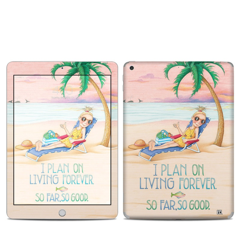 iPad 6th Gen Skin design of Vacation, Product, Summer, Aqua, Illustration, Sun tanning, Fictional character, Caribbean, Graphics, Happy with pink, green, brown, yellow, blue, white, red colors