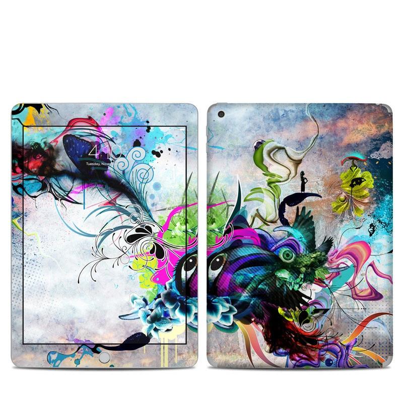 iPad 6th Gen Skin design of Graphic design, Psychedelic art, Art, Illustration, Purple, Visual arts, Graffiti, Street art, Design, Painting with gray, black, blue, green, purple colors