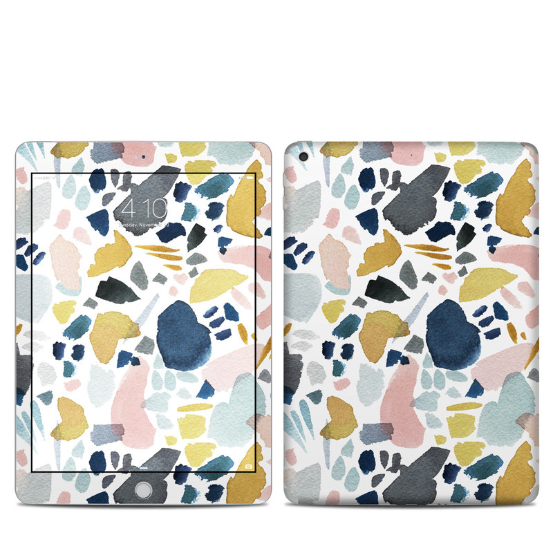 iPad 6th Gen Skin design of Pattern, Aqua, Teal, Design, Textile with white, blue, yellow, orange, pink, black colors