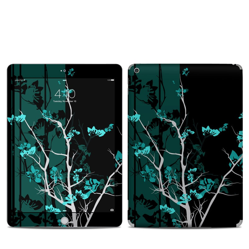 iPad 6th Gen Skin design of Branch, Black, Blue, Green, Turquoise, Teal, Tree, Plant, Graphic design, Twig with black, blue, gray colors