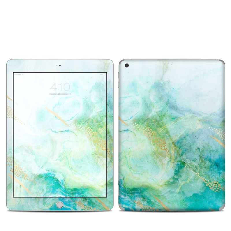 iPad 6th Gen Skin design of Blue, Watercolor paint, Aqua, Line, Sky, Design, Pattern, Art, Illustration with blue, yellow, orange colors