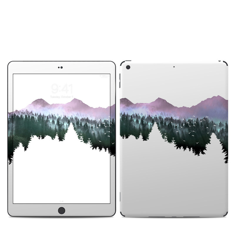 iPad 7th Gen Skin design of Nature, Mountainous landforms, Mountain, Atmospheric phenomenon, Tree, Wilderness, Sky, Mountain range, Forest, Hill with white, black, purple, blue, green colors