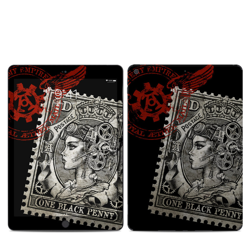 iPad 7th Gen Skin design of Font, Postage stamp, Illustration, Drawing, Art with black, gray, red colors