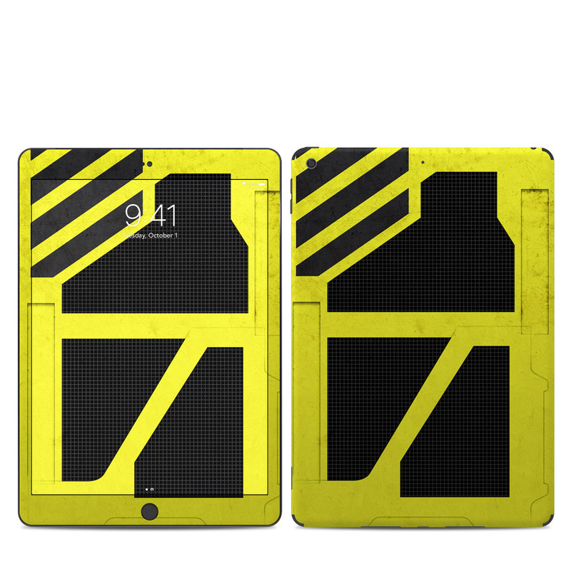 iPad 7th Gen Skin design of Yellow, Green, Font, Pattern, Graphic design with black, yellow, gray, blue, green colors