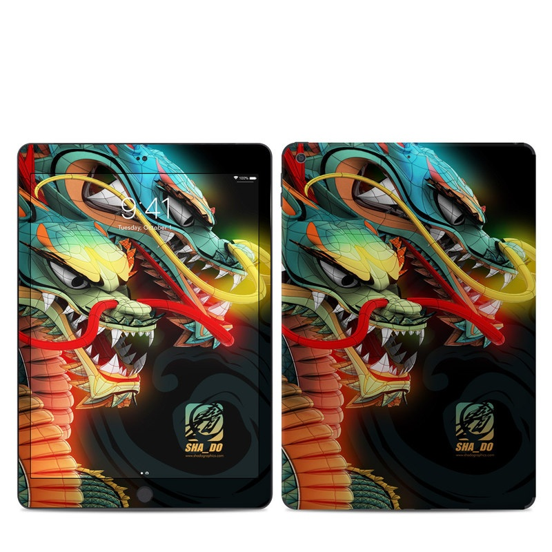 iPad Skin design of Dragon, Fictional character, Illustration, Art, Cg artwork, Fiction, Mythical creature, Graphics with black, green, red, yellow, orange colors