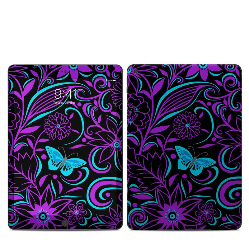 iPad 7th Gen Skin design of Pattern, Purple, Violet, Turquoise, Teal, Design, Floral design, Visual arts, Magenta, Motif with black, purple, blue colors