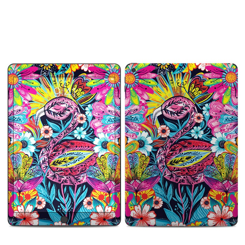iPad 7th Gen Skin design of Psychedelic art, Pattern, Visual arts, Art, Design, Textile, Illustration, Plant, Graphic design, Drawing with pink, yellow, black, blue, white colors