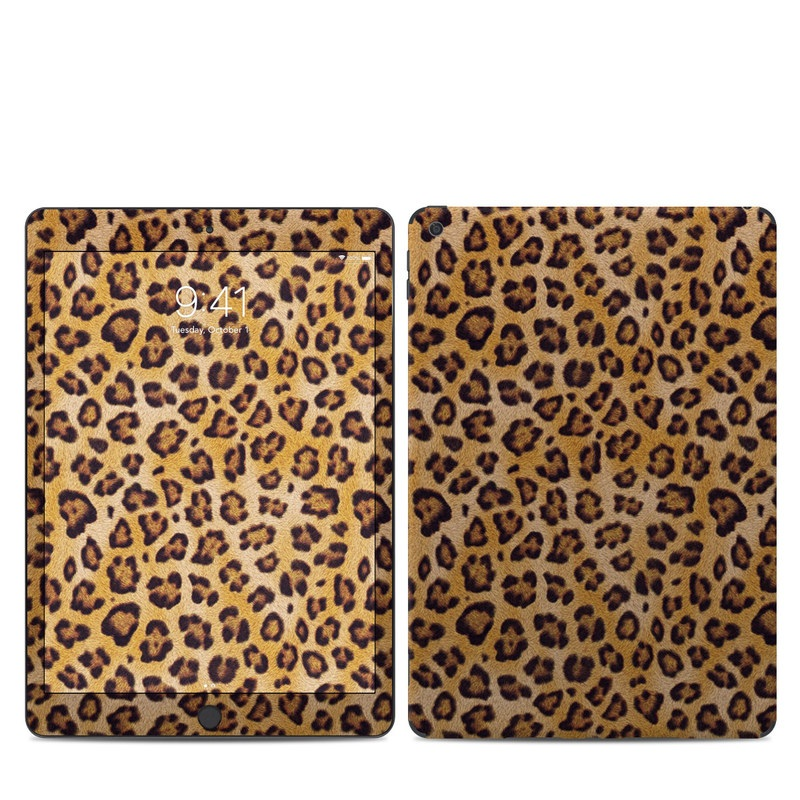 iPad 7th Gen Skin design of Pattern, Felidae, Fur, Brown, Design, Terrestrial animal, Close-up, Big cats, African leopard, Organism with orange, black colors