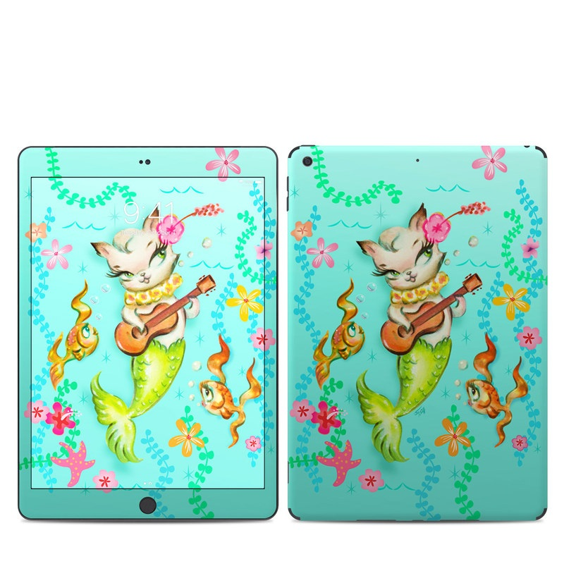 iPad Skin design of Fictional character, Illustration, Mermaid, Mythical creature, Clip art, Art with blue, green, pink, yellow, orange, white, gray, brown colors