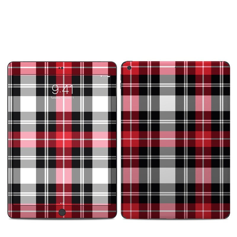 iPad 7th Gen Skin design of Plaid, Tartan, Pattern, Red, Textile, Design, Line, Pink, Magenta, Square with black, gray, pink, red, white colors