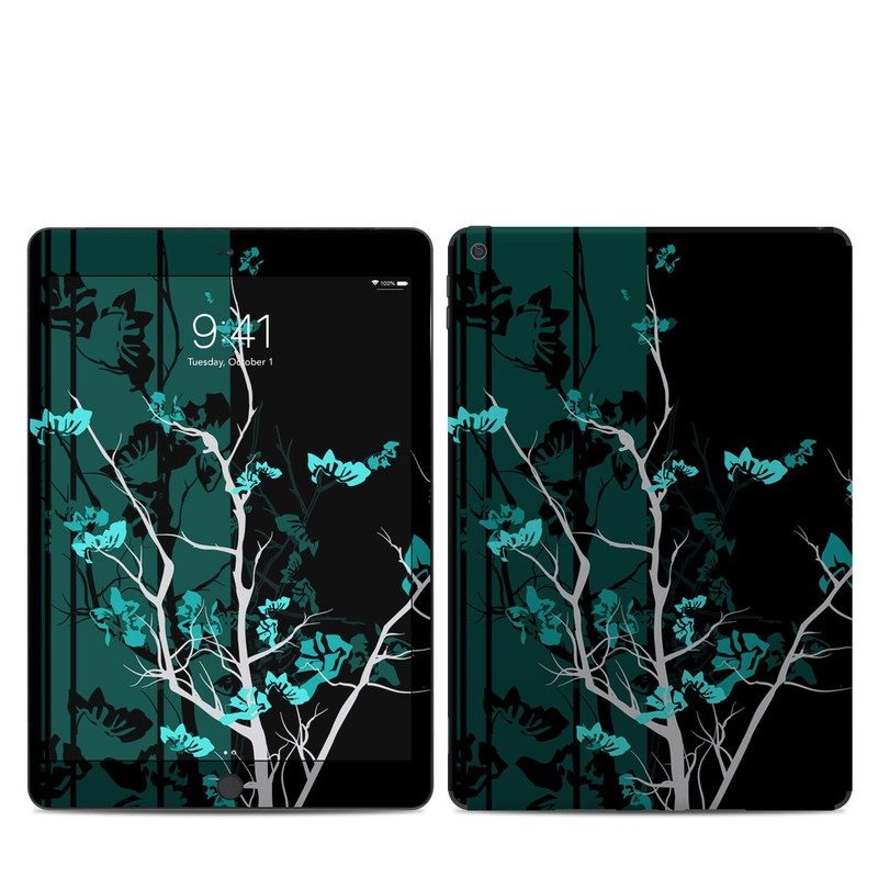 iPad 7th Gen Skin design of Branch, Black, Blue, Green, Turquoise, Teal, Tree, Plant, Graphic design, Twig with black, blue, gray colors