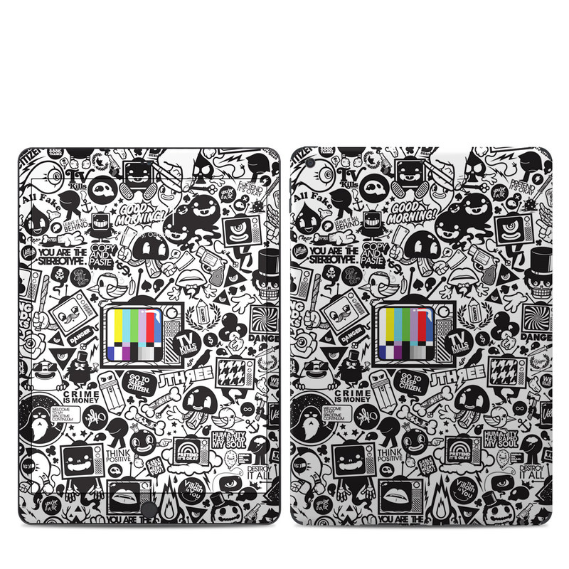 iPad 7th Gen Skin design of Pattern, Drawing, Doodle, Design, Visual arts, Font, Black-and-white, Monochrome, Illustration, Art with gray, black, white colors
