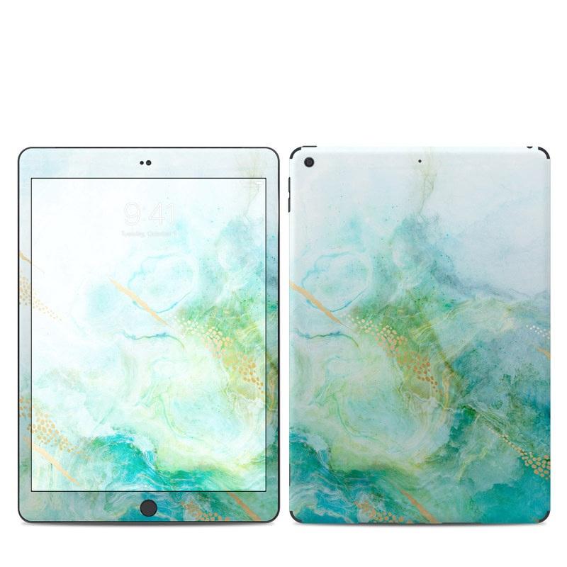iPad 7th Gen Skin design of Blue, Watercolor paint, Aqua, Line, Sky, Design, Pattern, Art, Illustration with blue, yellow, orange colors