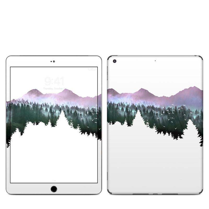 iPad Skin design of Nature, Mountainous landforms, Mountain, Atmospheric phenomenon, Tree, Wilderness, Sky, Mountain range, Forest, Hill with white, black, purple, blue, green colors
