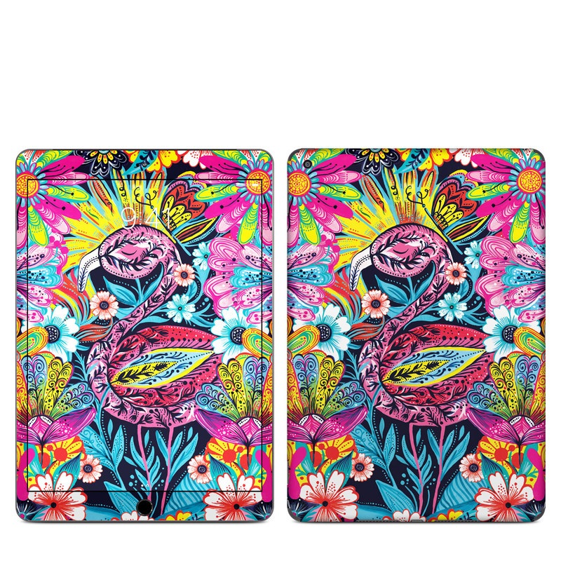 iPad Skin design of Psychedelic art, Pattern, Visual arts, Art, Design, Textile, Illustration, Plant, Graphic design, Drawing with pink, yellow, black, blue, white colors