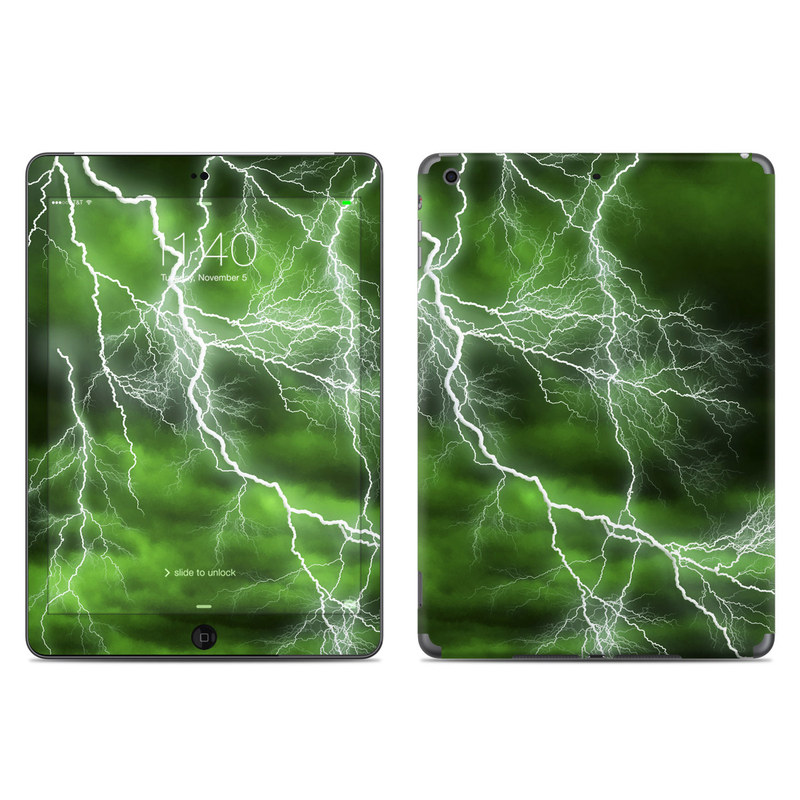 iPad Air Skin design of Thunderstorm, Thunder, Lightning, Nature, Green, Water, Sky, Atmosphere, Atmospheric phenomenon, Daytime with green, black, white colors