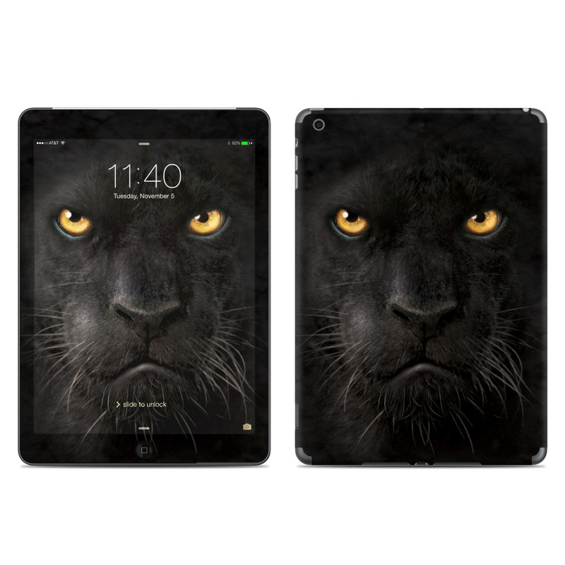 iPad Air Skin design of Mammal, Vertebrate, Cat, Felidae, Black cat, Small to medium-sized cats, Whiskers, Carnivore, Snout, Eye with black, orange, yellow colors