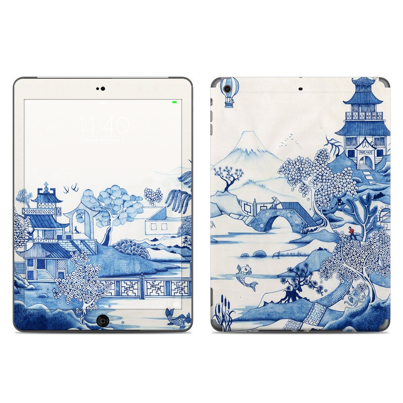 iPad Air Skin design of Blue, Blue and white porcelain, Winter, Christmas eve, Illustration, Snow, World, Art with blue, white colors