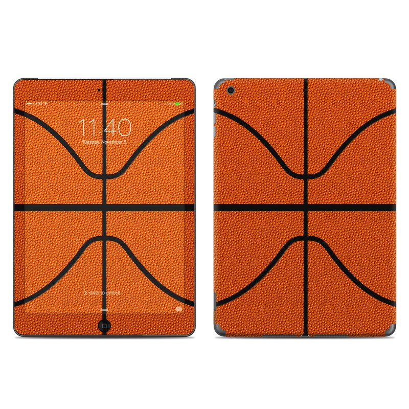 iPad Air 1 Skin design of Orange, Basketball, Line, Pattern, Sport venue, Brown, Yellow, Design, Net, Team sport with orange, black colors