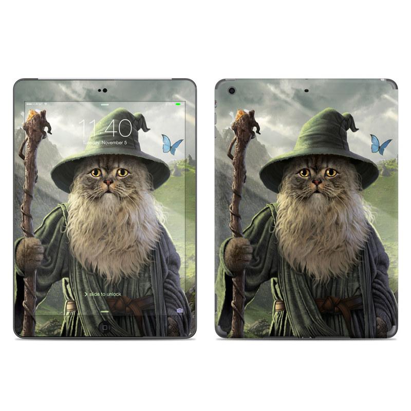 iPad Air 1 Skin design of Beard, Facial hair, Illustration, Mythology, Magician, Fictional character, Cg artwork, Games, Art with green, gray, brown, blue, green, white, yellow, black colors