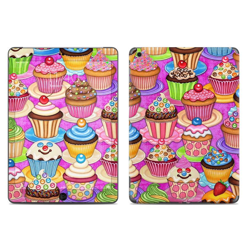 iPad Air Skin design of Cupcake, Baking cup, Icing, Baking, Cake decorating, Dessert, Cake, Cake decorating supply, Food, Sweetness with pink, green, blue, orange, yellow, brown colors