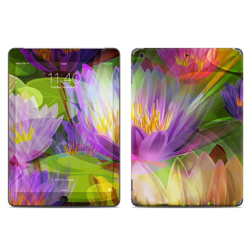 iPad Air 1 Skin design of Flowering plant, Flower, Petal, Violet, Aquatic plant, Purple, water lily, Plant, Botany, Close-up with gray, green, black, purple, red colors