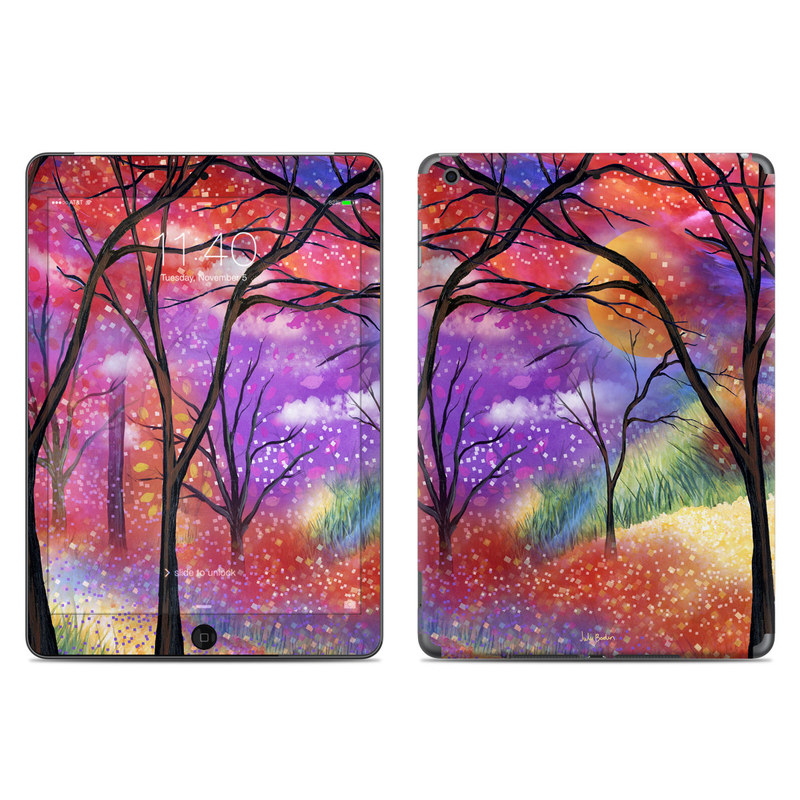 iPad Air 1 Skin design of Nature, Tree, Natural landscape, Painting, Watercolor paint, Branch, Acrylic paint, Purple, Modern art, Leaf with red, purple, black, gray, green, blue colors