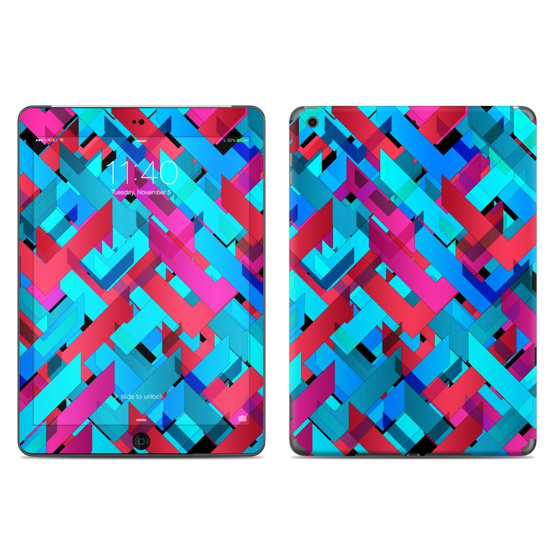 iPad Air Skin design of Pattern, Turquoise, Line, Teal, Magenta, Design, Textile, Symmetry, Colorfulness with blue, red, purple, black colors