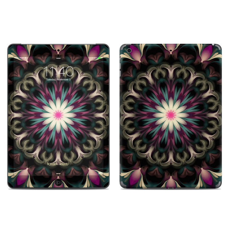 iPad Air Skin design of Fractal art, Pattern, Pink, Psychedelic art, Art, Kaleidoscope, Design, Symmetry, Visual arts, Textile with black, purple, white, green, blue colors