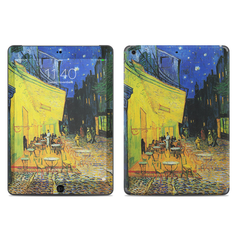 iPad Air 1 Skin design of Painting, Art, Yellow, Watercolor paint, Illustration, Modern art, Visual arts, Street, Infrastructure, Tree with green, black, blue, gray, red colors