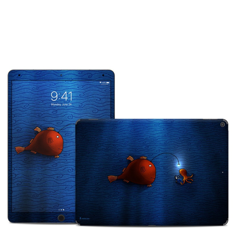 iPad Air 3rd Gen Skin design of Deep sea fish, Anglerfish, Illustration, Fish, Animation, Art with blue, red colors