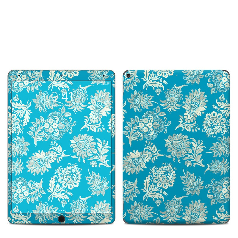 iPad Air 3 Skin design of Pattern, Aqua, Turquoise, Teal, Design, Motif, Wrapping paper, Visual arts, Floral design, Pedicel with blue, gray, yellow colors