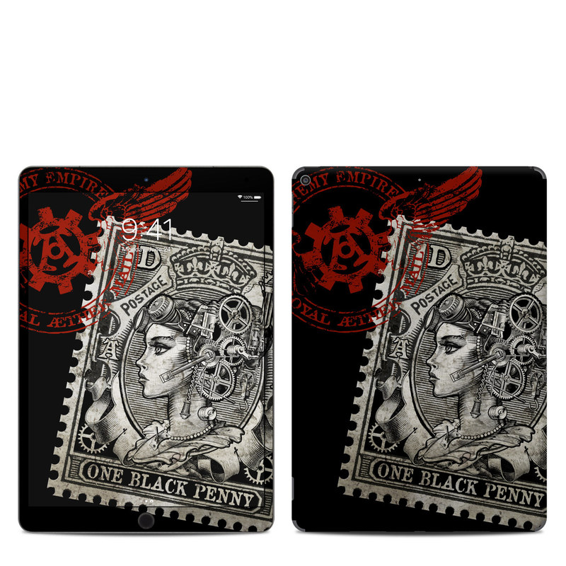 iPad Air 3 Skin design of Font, Postage stamp, Illustration, Drawing, Art with black, gray, red colors