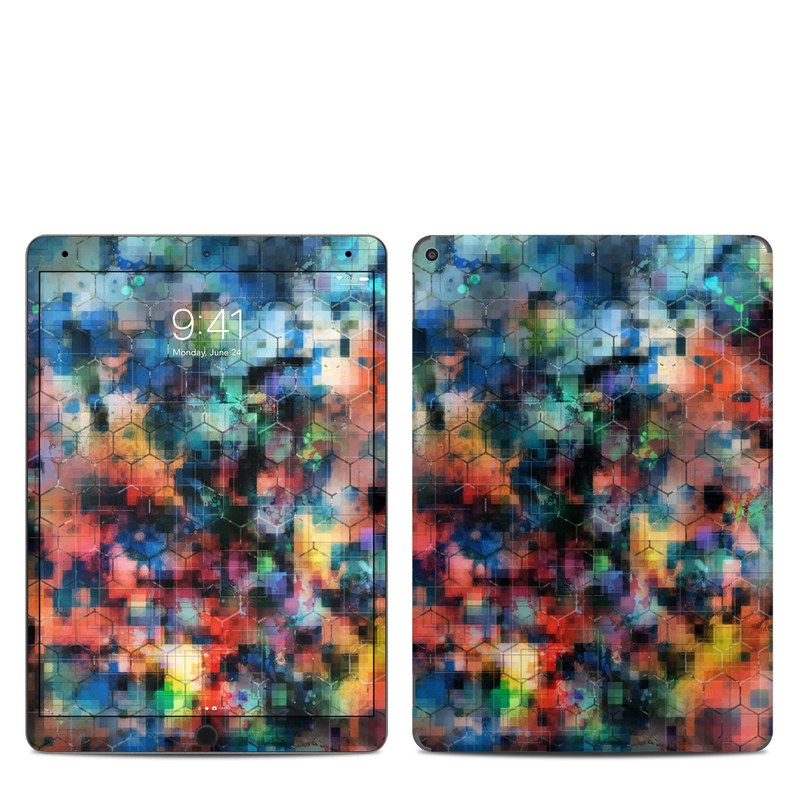 iPad Air 3 Skin design of Blue, Colorfulness, Pattern, Psychedelic art, Art, Sky, Design, Textile, Dye, Modern art with black, blue, red, gray, green colors