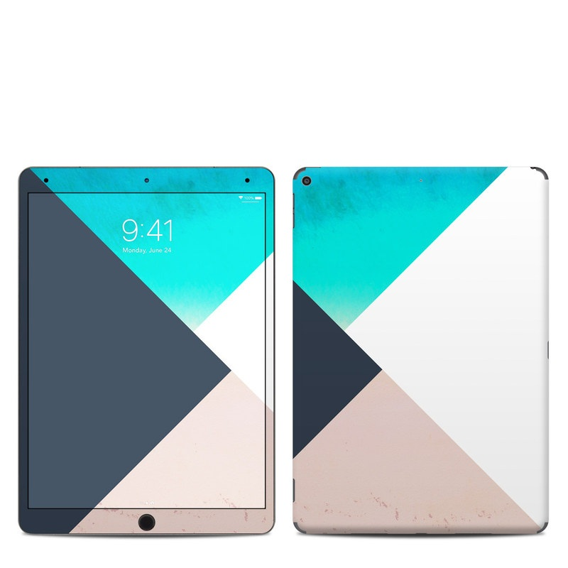 iPad Air 3rd Gen Skin design of Blue, Turquoise, Aqua, Line, Triangle, Design, Material property, Graphic design, Pattern, Architecture with black, white, brown, blue colors
