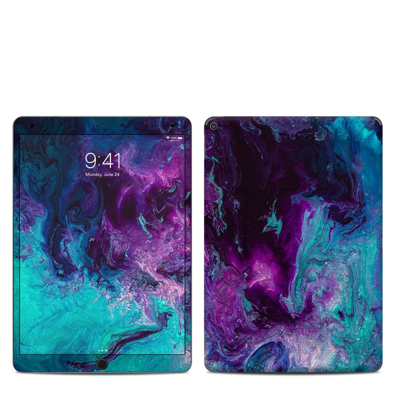 iPad Air 3 Skin design of Blue, Purple, Violet, Water, Turquoise, Aqua, Pink, Magenta, Teal, Electric blue with blue, purple, black colors
