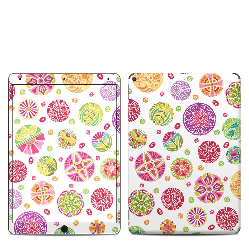 iPad Air Skin design of Pattern, Wrapping paper, Design, Circle, Visual arts, Motif with white, gray, pink, purple, green, red colors