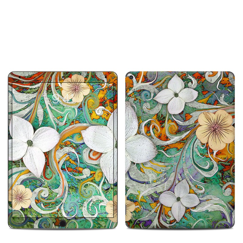 iPad Air Skin design of Flower, Pattern, Plant, Wildflower, Floral design, Petal, Art, Painting, Visual arts, Wallpaper with gray, black, green, blue, red colors