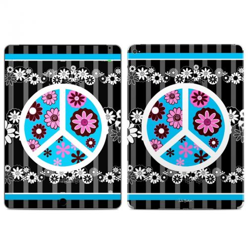 Peace Flowers Black iPad Air 2 Skin